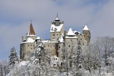 Outside view of the castle during winter