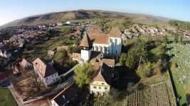 The Bazna Fortified Church as seen from above